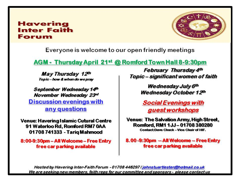 Havering Interfaith Forum - 2016 -all meetings flyer